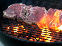 Grilling T-Bone with Fire. Grilling the T-Bone Steak, with flame and charcoal, just placed, rare royalty free stock photos
