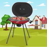 Grilling theme with barbecue stuff in garden with classic cottage royalty free illustration