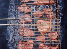 Grilling time Grill in garden royalty free stock images