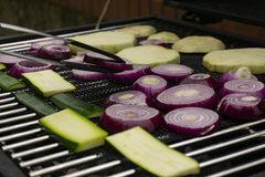 Grilling vegetables on a outdoor barbecue stock photo