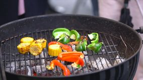 Grilling vegetables on a outdoor barbecue. Vegetables are grilled on charcoal. Vegetables are roasting on the grill stock images
