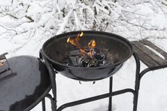 Grilling at winter day on old grill Royalty Free Stock Photo