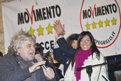 Grillo di Beppe, un movimento di cinque stelle Fotografie Stock Libere da Diritti