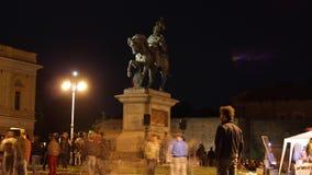 Grillo que habla en el evento de campaña europeo Fotos de archivo