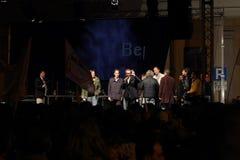 Grillo que habla en el evento de campaña europeo Imagen de archivo