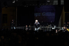 Grillo speaking at a campaign event. NOVARA, ITALY - MAY 14, 2014: Former comedian and Five Stars Movement leader Beppe Grillo speaks at a party rally in Martiri stock photo