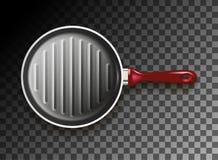 Grillpan met rood handvat Stock Afbeelding