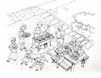 Grillpartei an der Yardillustration Lizenzfreie Stockbilder