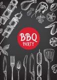 Grillparteieinladung Bbq-Schablonenmenüdesign Lebensmittelflieger Stockbilder
