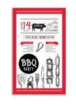 Grillparteieinladung Bbq-Schablonenmenüdesign Lebensmittelflieger Stockbild