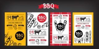 Grillparteieinladung Bbq-Schablonenmenüdesign Lebensmittelflieger Stockfotografie