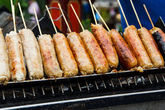 Grills fresh sausages Royalty Free Stock Photo
