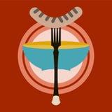 Grillworst op vork Stock Foto