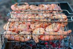 Grillzeevruchten het koken stock afbeelding