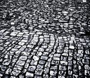 A grim appearance cobbled street in Brazil royalty free illustration