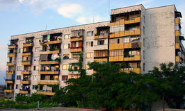 Grim communist era apartment block in Bulgaria. Run down apartment block in Petrich, south west Bulgaria Stock Image