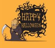 Grim. Death halloween. Create cartoon grim hand drawing  image Royalty Free Stock Images
