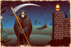 Grim in Halloween night. Illustration of grim holding sword in Halloween night Royalty Free Stock Images