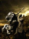 Grim horse rider Stock Photo