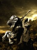 Grim horse rider. Dark gothic scene with grim horse rider Stock Photo