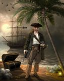 Grim Pirate Captain Searching for Treasure. Grim pirate captain, holding a pistol and a compass, searching for treasure on a tropical island, 3d render royalty free illustration