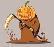 Grim pumpkin head Style. Death halloween Stock Images
