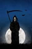 The Grim Reaper. Illustration of the Gream Reaper against the moon Stock Image