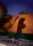Grim reaper. Shade on a stone wall from an invisible figure going on sidewalk Stock Images