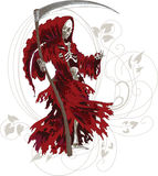 Grim Reaper. In red cloak with scythe vector illustration