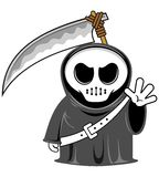 Grim reaper. Vector cartoon funny grim reaper with scythe Royalty Free Stock Photography