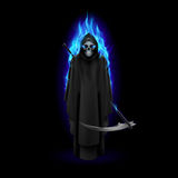 Grim Reaper. In blue flame over black baclground Royalty Free Stock Photography