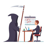 Grim reaper came to frightened businessman working. Business project deadline concept. Grim reaper came to frightened open mouthed businessman sitting at desk Stock Photos