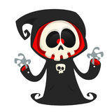 Grim reaper cartoon character  isolated on a white background. Cute death character in black hood. Grim reaper cartoon character  isolated on a white background Stock Images