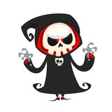 Grim reaper cartoon character  isolated on a white background. Cute death character in black hood. Grim reaper cartoon character  isolated on a white background Stock Photo