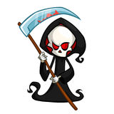 Grim reaper cartoon character with scythe isolated on a white background. Cute death character in black hood. Grim reaper cartoon character with scythe isolated stock illustration