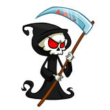 Grim reaper cartoon character with scythe isolated on a white background. Cute death character in black hood.  Stock Photography