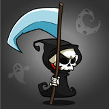 Grim reaper cartoon character with scythe on a white background. Cute death character in black hood stock illustration