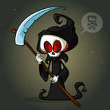 Grim reaper cartoon character with scythe  on a white background. Cute death character in black hood Stock Image