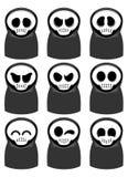 Grim reaper cartoon set. Nine cartoon grim reaper set with various expression Stock Photos