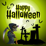 The grim Reaper in the cemetery. Halloween card Royalty Free Stock Photos
