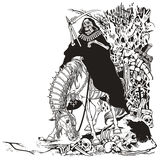 Grim reaper in cemetery. Grim reaper symbol of death and time sitting on a horse and holding scythe in old cemetery . Black and white illustration Stock Photo