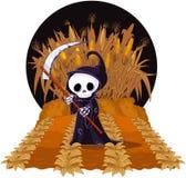 Grim Reaper on Corn Maze. Halloween Grim reaper with scythe on corn maze Stock Image
