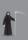 Grim Reaper Death Character Vector Illustration. Vector cartoon illustration of Grim Reaper, character personification of Death, skeleton dressed in black hooded Stock Images