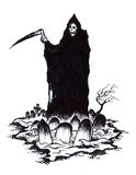 Grim Reaper of Death in Halloween Graveyard Royalty Free Stock Images