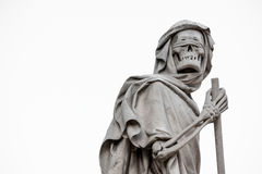 The Grim Reaper Death personified statue, holding sickle. The blindfolded Grim Reaper on withe background Stock Photos