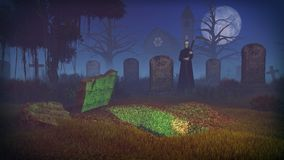 Grim reaper and empty grave at spooky cemetery. Big full moon above old creepy cemetery with freshly dug grave and silhouette of a grim reaper. Old church and Stock Photography