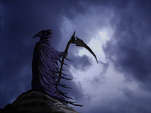 Grim reaper. Graphic with dramatic background sky royalty free illustration