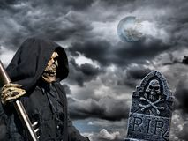 Grim reaper and gravestone