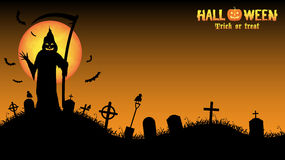 Grim reaper with halloween background. A grim reaper with halloween background Stock Photo