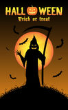 Grim reaper with halloween background Stock Images